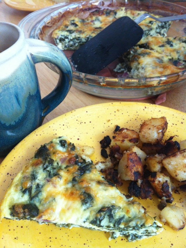 [Leaf Parade. Crustless spinach + cheddar quiche.]